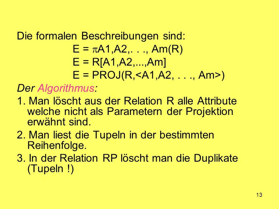 13 Die formalen Beschreibungen sind: E = A1,A2,..., Am(R) E = R[A1,A2,...,Am] E = PROJ(R, ) Der Algorithmus: 1. Man löscht aus der Relation R alle Att