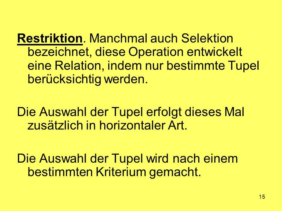 15 Restriktion. Manchmal auch Selektion bezeichnet, diese Operation entwickelt eine Relation, indem nur bestimmte Tupel berücksichtig werden. Die Ausw