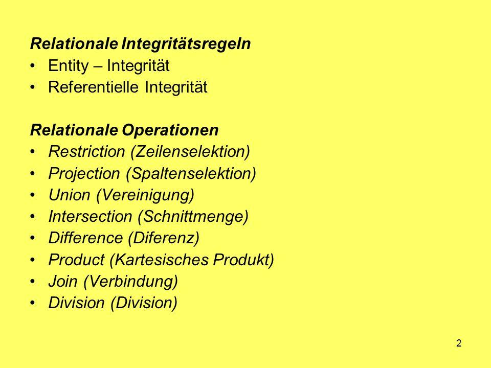 2 Relationale Integritätsregeln Entity – Integrität Referentielle Integrität Relationale Operationen Restriction (Zeilenselektion) Projection (Spaltenselektion) Union (Vereinigung) Intersection (Schnittmenge) Difference (Diferenz) Product (Kartesisches Produkt) Join (Verbindung) Division (Division)