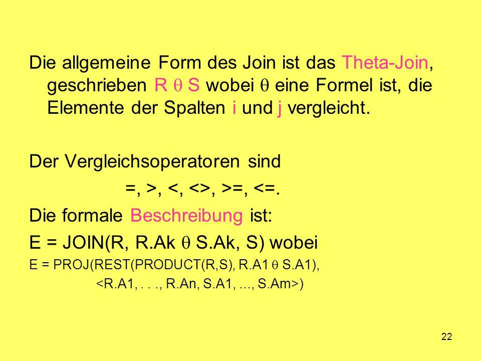 22 Die allgemeine Form des Join ist das Theta-Join, geschrieben R S wobei eine Formel ist, die Elemente der Spalten i und j vergleicht. Der Vergleichs