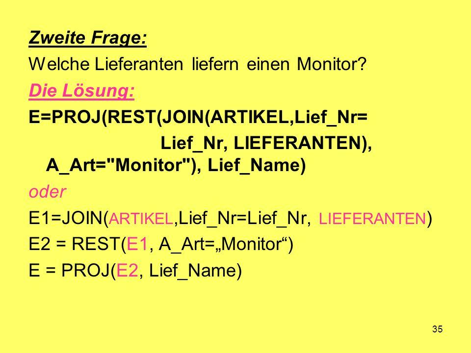 35 Zweite Frage: Welche Lieferanten liefern einen Monitor? Die Lösung: E=PROJ(REST(JOIN(ARTIKEL,Lief_Nr= Lief_Nr, LIEFERANTEN), A_Art=