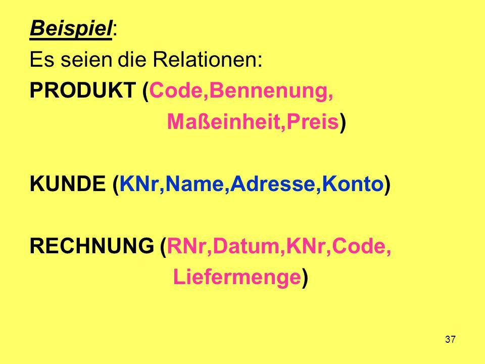 37 Beispiel: Es seien die Relationen: PRODUKT (Code,Bennenung, Maßeinheit,Preis) KUNDE (KNr,Name,Adresse,Konto) RECHNUNG (RNr,Datum,KNr,Code, Liefermenge)