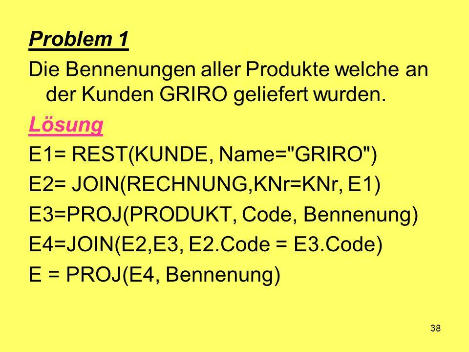 38 Problem 1 Die Bennenungen aller Produkte welche an der Kunden GRIRO geliefert wurden. Lösung E1= REST(KUNDE, Name=