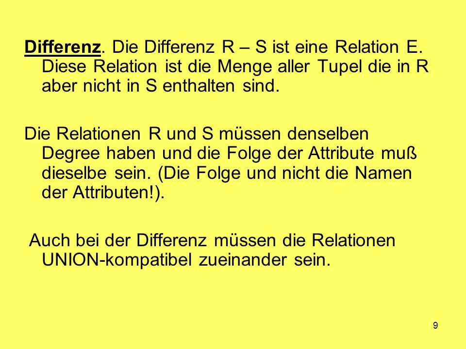 9 Differenz. Die Differenz R – S ist eine Relation E. Diese Relation ist die Menge aller Tupel die in R aber nicht in S enthalten sind. Die Relationen