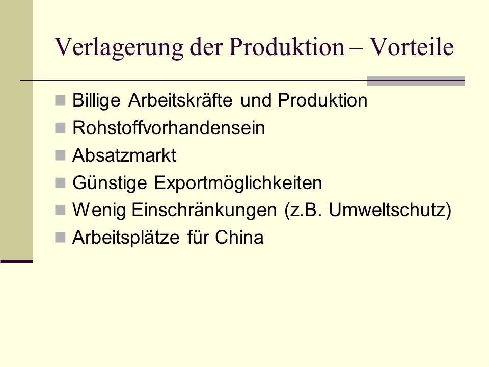 Verlagerung der Produktion - Nachteile Arbeitsplatzverlust in Investorenländern Schlechte Arbeitsbedingungen (z.B.