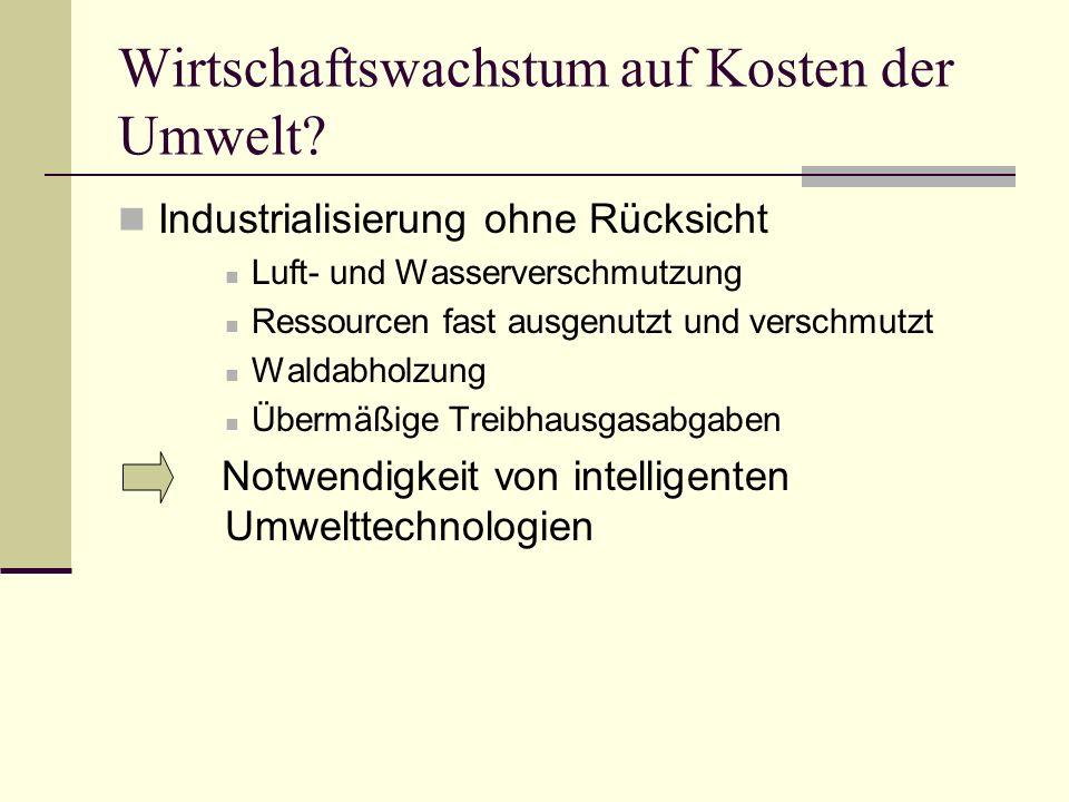 Deutsch-chinesische Beziehung China = wichtigster Handelspartner Export und Import (1/3 mehr Import nach Dt.) Umweltschutz als Priorität Chancen deutscher Unternehmen für die Zukunft Wachsende Nachfrage nach deutschen Konsumgütern in China Negativ: Verletzung von Patentrechten Deutschlands
