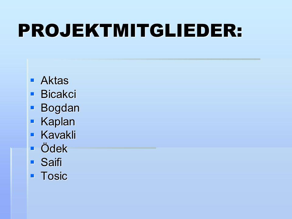PROJEKTMITGLIEDER: Aktas Bicakci Bogdan Kaplan Kavakli Ödek Saifi Tosic