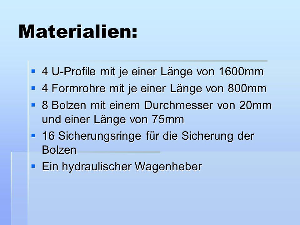 Materialien: 4 U-Profile mit je einer Länge von 1600mm 4 U-Profile mit je einer Länge von 1600mm 4 Formrohre mit je einer Länge von 800mm 4 Formrohre