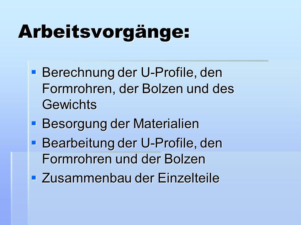 Arbeitsvorgänge: Berechnung der U-Profile, den Formrohren, der Bolzen und des Gewichts Berechnung der U-Profile, den Formrohren, der Bolzen und des Ge