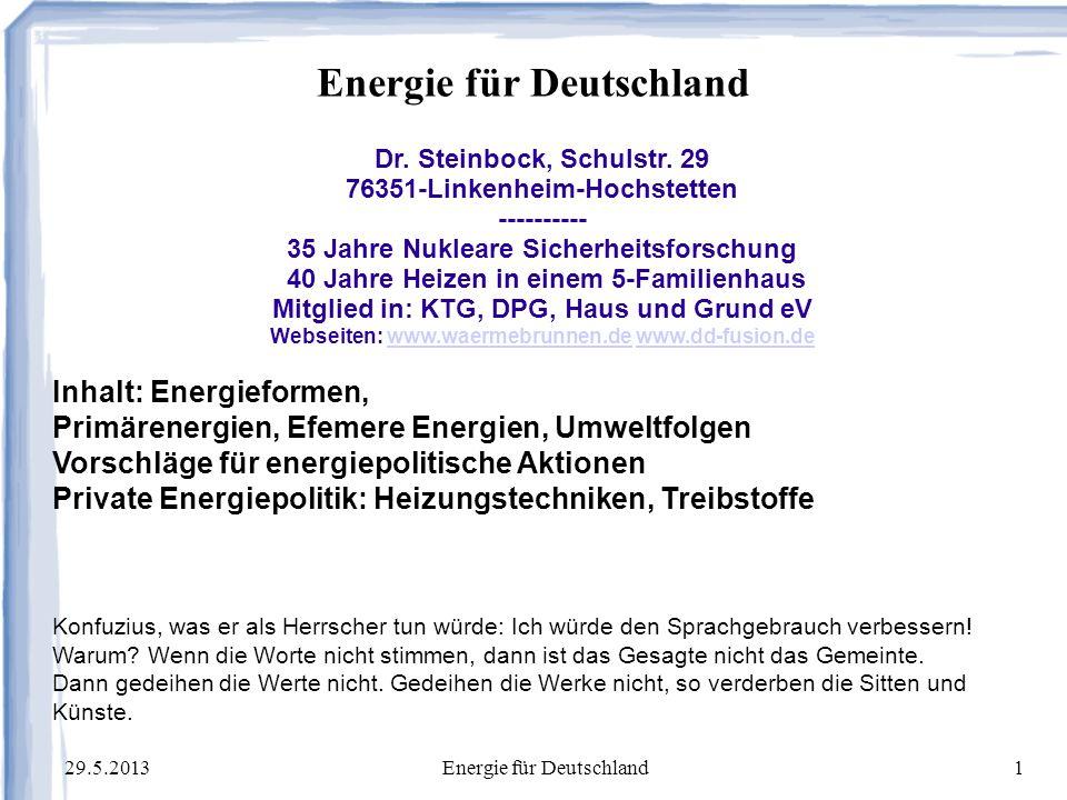 29.5.2013Energie für Deutschland2 Meine Kompetenz als Physiker 1968: Diplom in Beschleunigerphysik, Kernforschungszentrum Kalrsruhe (KfK) 1972: Dr.
