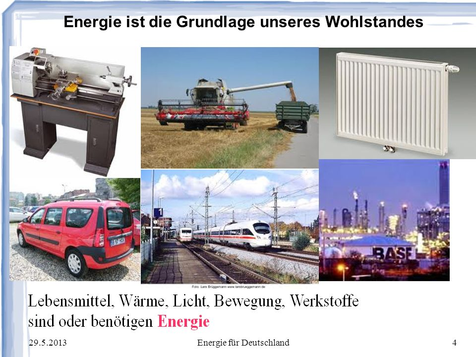 29.5.2013Energie für Deutschland35 Thermodynamischer Wirkungsgrad einer Gebäudeheizung: Temperatur des kalten Speichers, Außenluft: -10° = 263 Kelvin Temperatur des warmen Speichers, Drinnen: +20°= 293 Kelvin Differenz:Delta-K= 30 Kelvin Heizlast = 10 kW Die ideale Carnot-Maschine braucht dafür nur 1 kW Exergie (=Strom) Jede Heizung, die mehr als 20% Exergie benötigt, verschwendet Exergie, weil jeder fossile Brennstoff im Kraftwerk zwischen 30 und 58% Strom erzeugen kann.