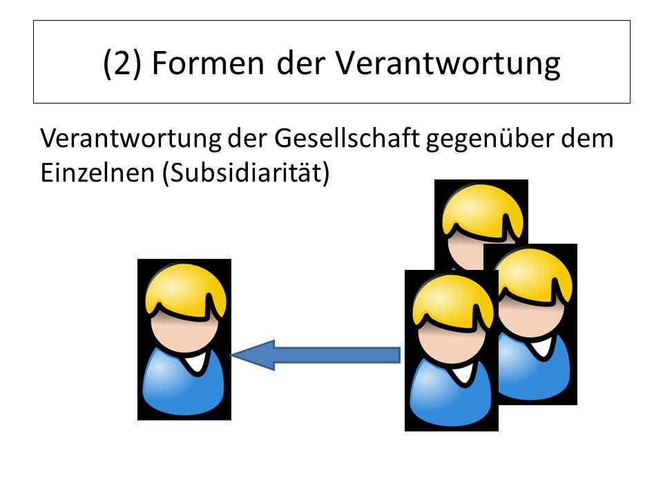 (2) Formen der Verantwortung Verantwortung der Gesellschaft gegenüber dem Einzelnen (Subsidiarität)