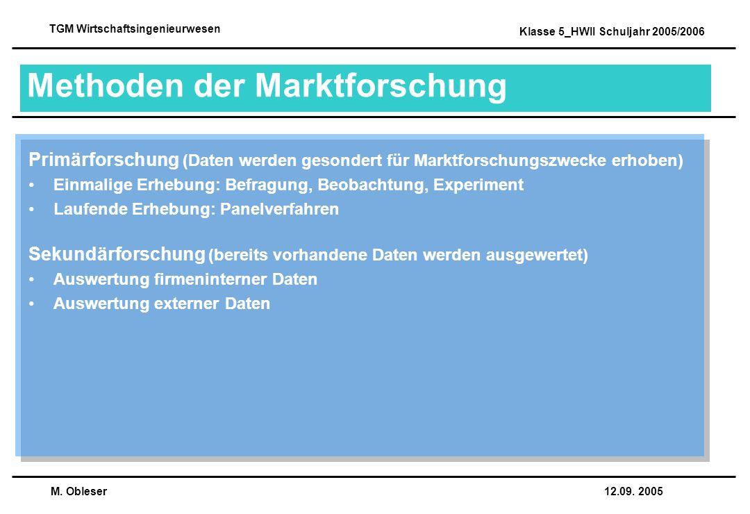 M. Obleser 12.09. 2005 TGM Wirtschaftsingenieurwesen Klasse 5_HWII Schuljahr 2005/2006 Methoden der Marktforschung Primärforschung (Daten werden geson