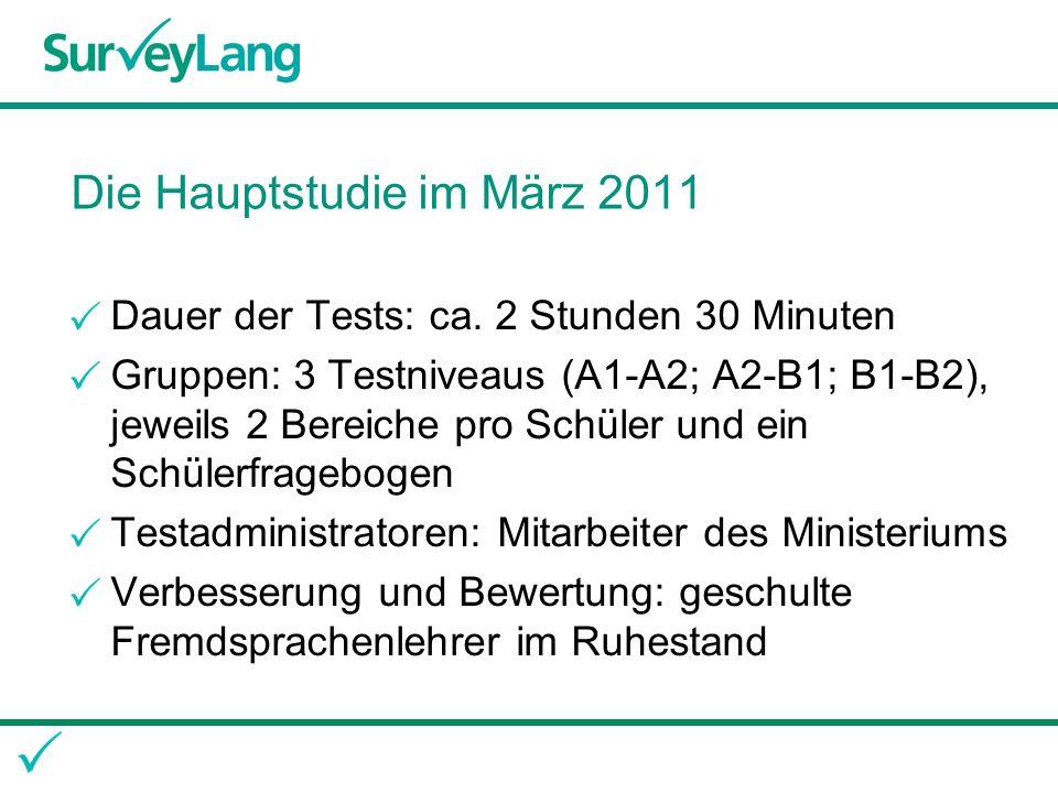 Die Hauptstudie im März 2011 Dauer der Tests: ca.