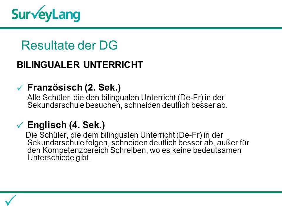 Resultate der DG BILINGUALER UNTERRICHT Französisch (2.