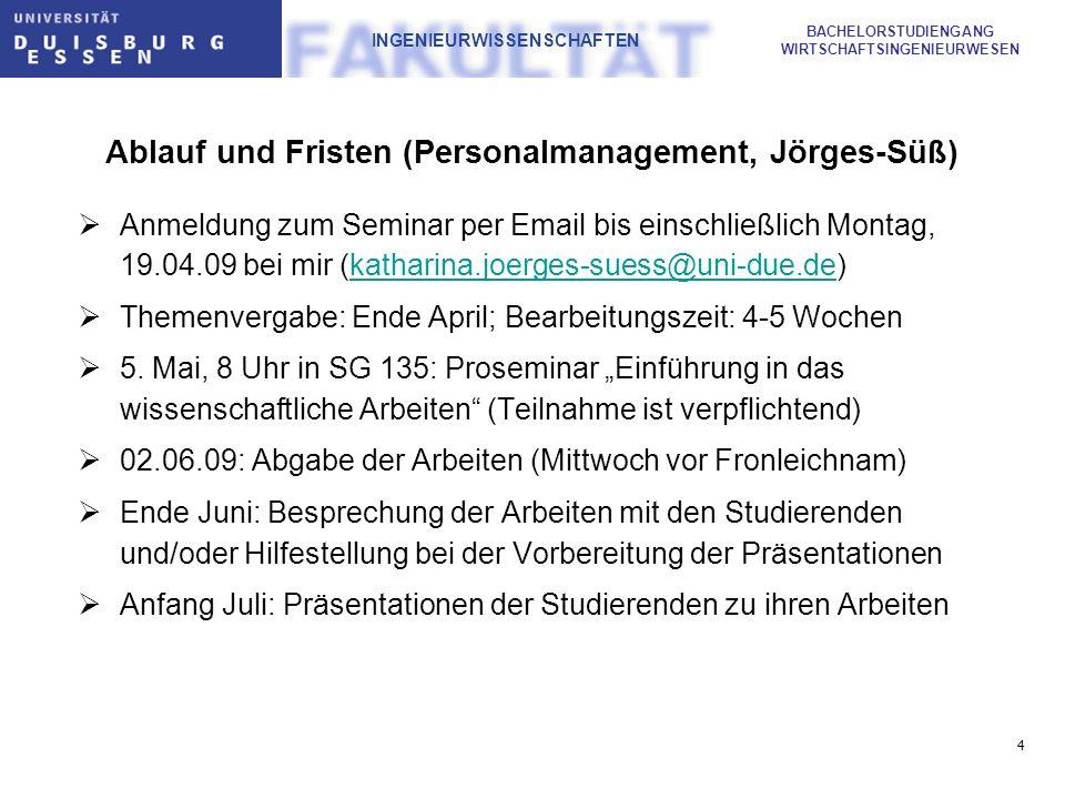 5 BACHELORSTUDIENGANG WIRTSCHAFTSINGENIEURWESEN INGENIEURWISSENSCHAFTEN Ablauf und Fristen (Markting, Dudenhöffer) Anmeldung zum Seminar per Email bis einschließlich Montag, 19.04.09 bei Frau Werry (andrea.werry@uni-due.de)andrea.werry@uni-due.de Themenvergabe: Ende April; Bearbeitungszeit: 4-5 Wochen 5.