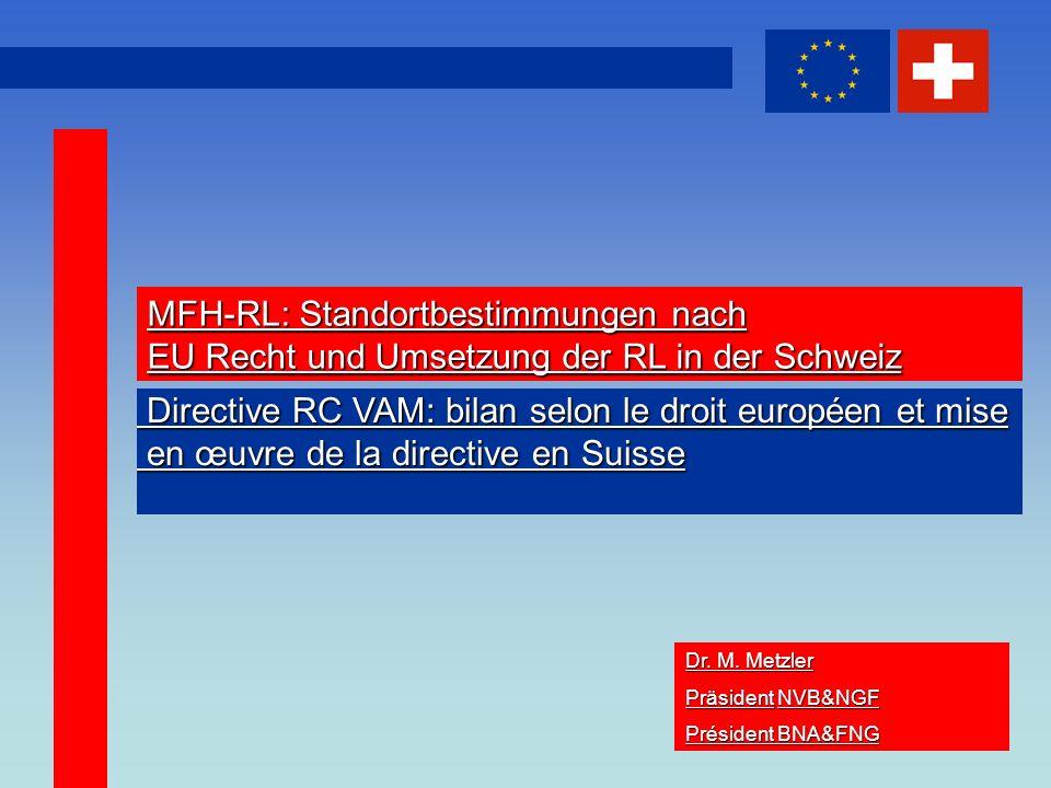 1 MFH-RL: Standortbestimmungen nach EU Recht und Umsetzung der RL in der Schweiz Dr.