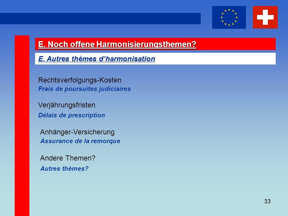 33 E. Noch offene Harmonisierungsthemen. E.