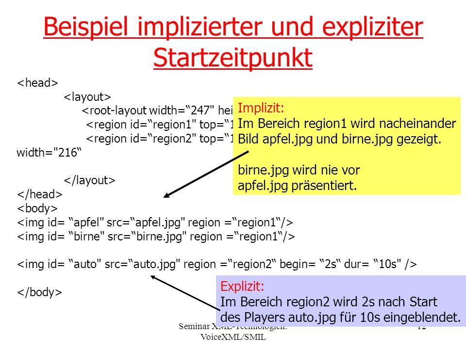 Seminar XML-Technologien: VoiceXML/SMIL 12 <region id=region1 top=10 left=8 height= 181 width= 216 <region id=region2 top=125 left=125 height= 181 width= 216 Beispiel implizierter und expliziter Startzeitpunkt Implizit: Im Bereich region1 wird nacheinander Bild apfel.jpg und birne.jpg gezeigt.