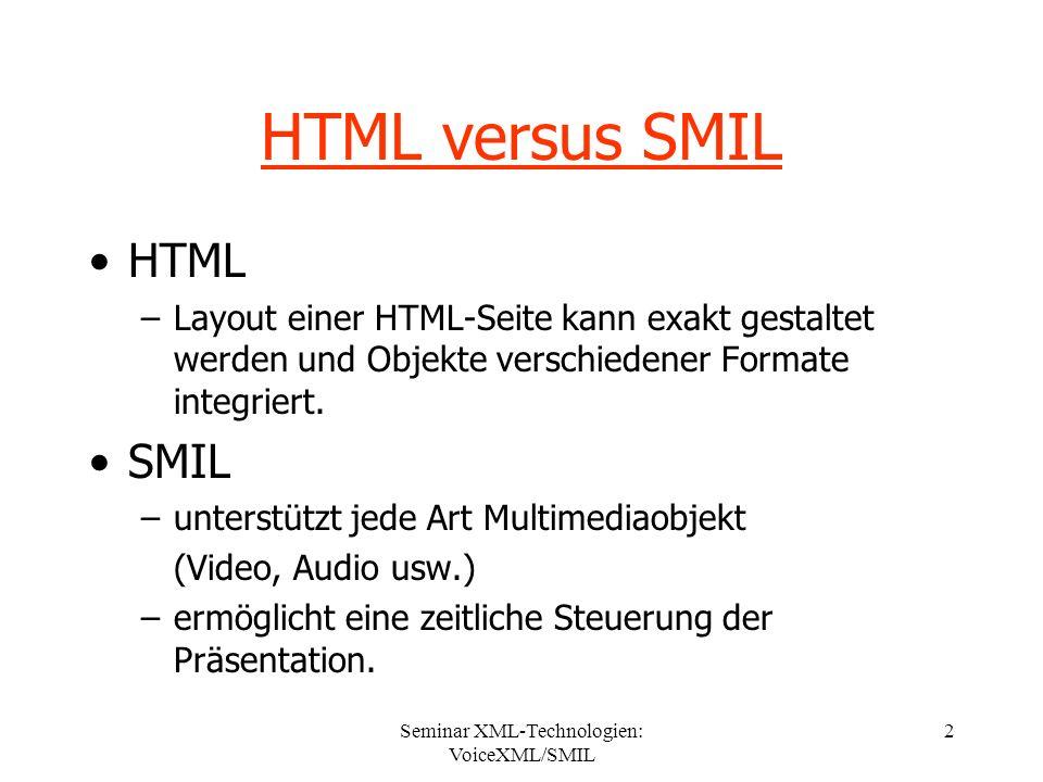 Seminar XML-Technologien: VoiceXML/SMIL 2 HTML versus SMIL HTML –Layout einer HTML-Seite kann exakt gestaltet werden und Objekte verschiedener Formate integriert.