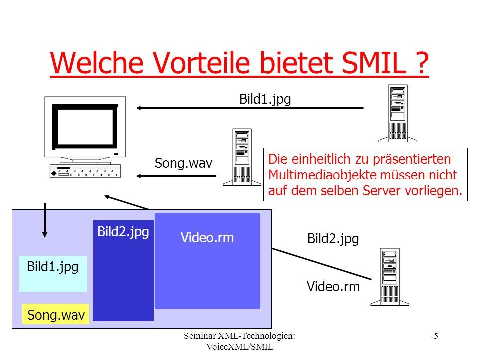 Seminar XML-Technologien: VoiceXML/SMIL 16 Ereignisbasierte Synchronisation Nun wird die Präsentation eines Medienobjekts 2 in Abhängigkeit zu einem Objekt 1 gestellt.