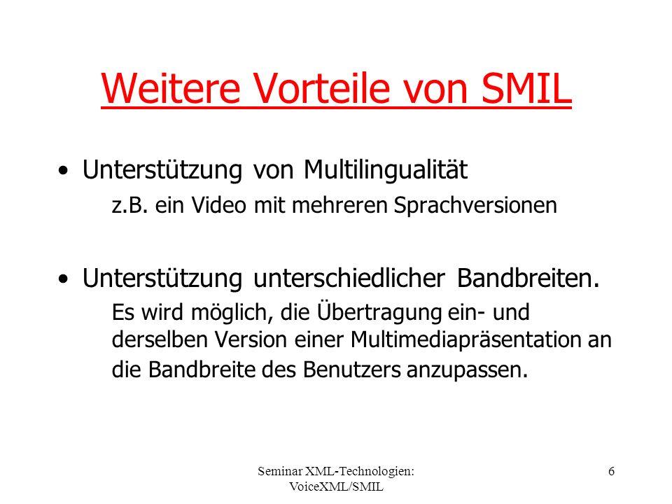 Seminar XML-Technologien: VoiceXML/SMIL 6 Weitere Vorteile von SMIL Unterstützung von Multilingualität z.B.