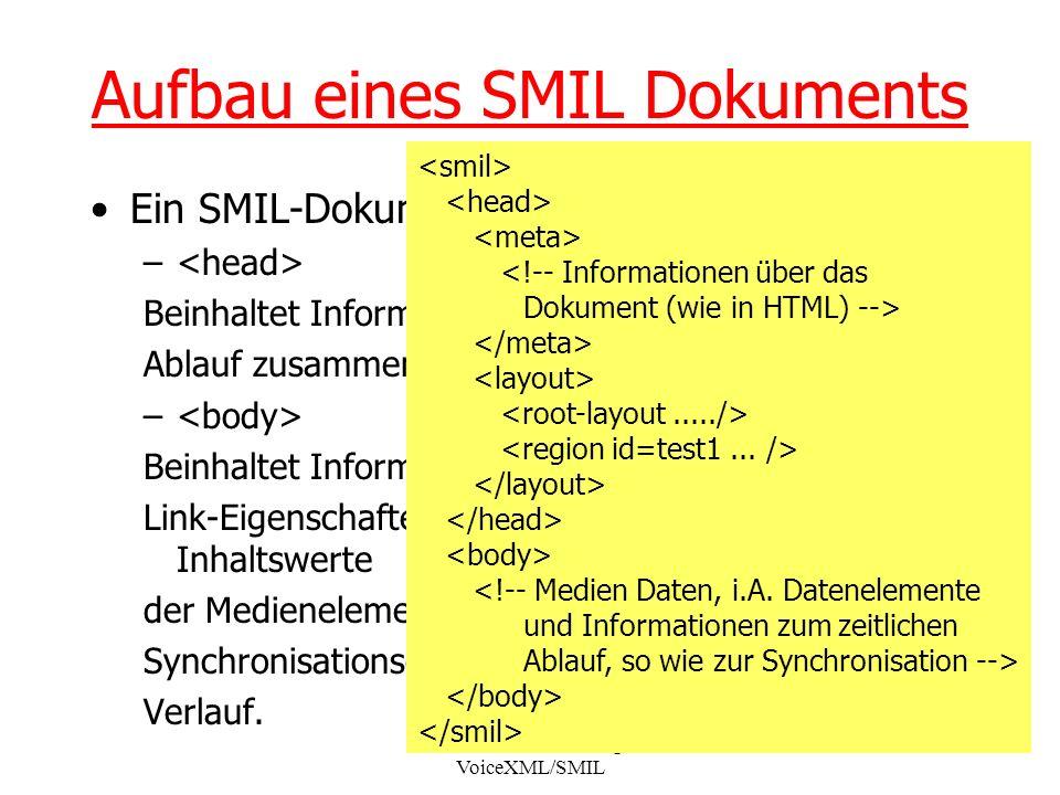 Seminar XML-Technologien: VoiceXML/SMIL 7 Aufbau eines SMIL Dokuments Ein SMIL-Dokument besteht aus zwei Teilen: – optional Beinhaltet Informationen die nicht mit dem zeitlichen Ablauf zusammenhängen.