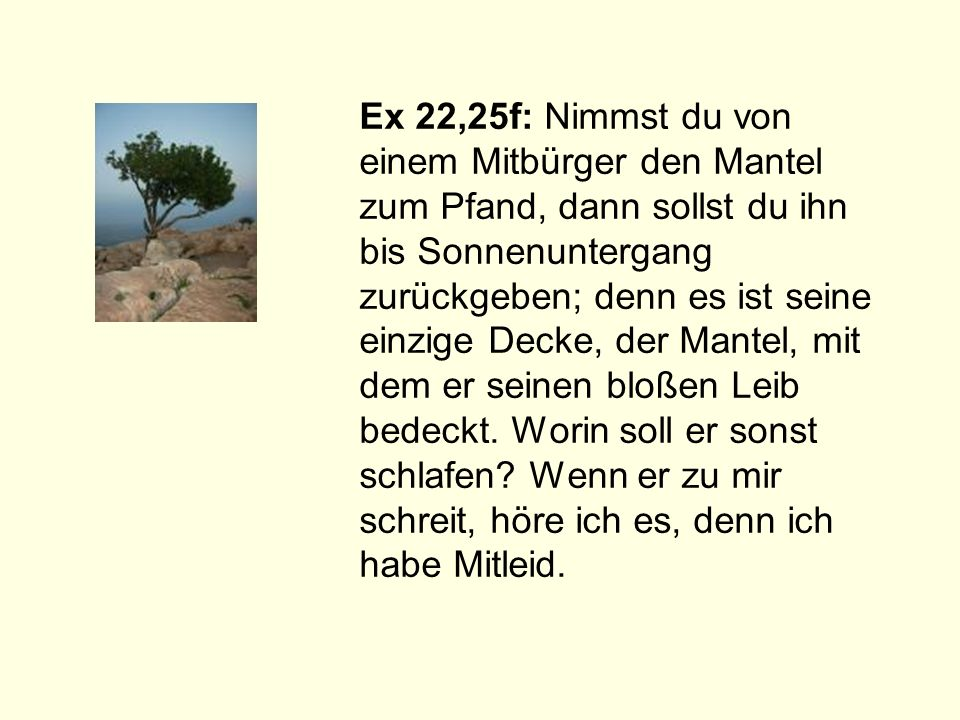 Ex 22,25f: Nimmst du von einem Mitbürger den Mantel zum Pfand, dann sollst du ihn bis Sonnenuntergang zurückgeben; denn es ist seine einzige Decke, de