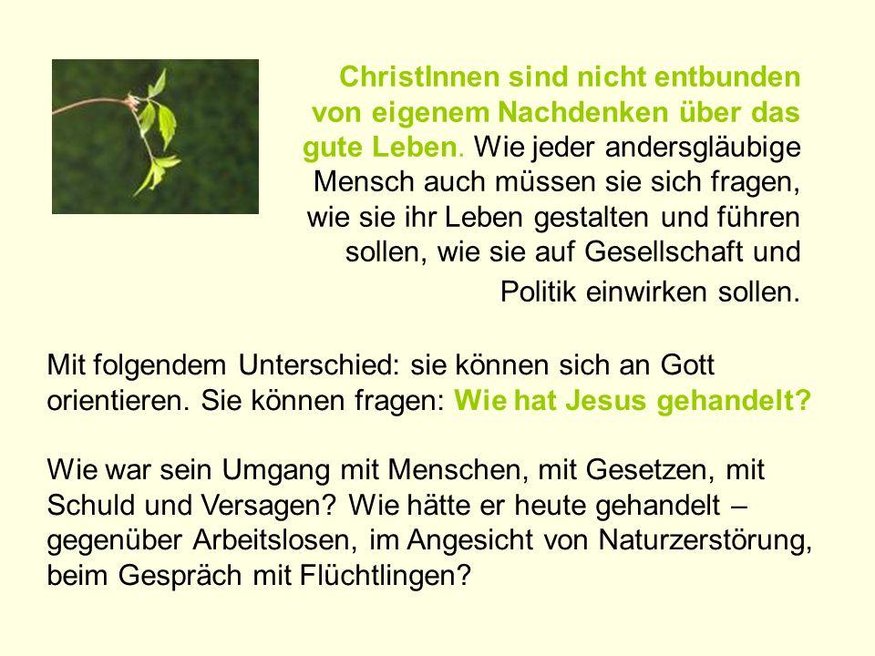 ChristInnen sind nicht entbunden von eigenem Nachdenken über das gute Leben. Wie jeder andersgläubige Mensch auch müssen sie sich fragen, wie sie ihr