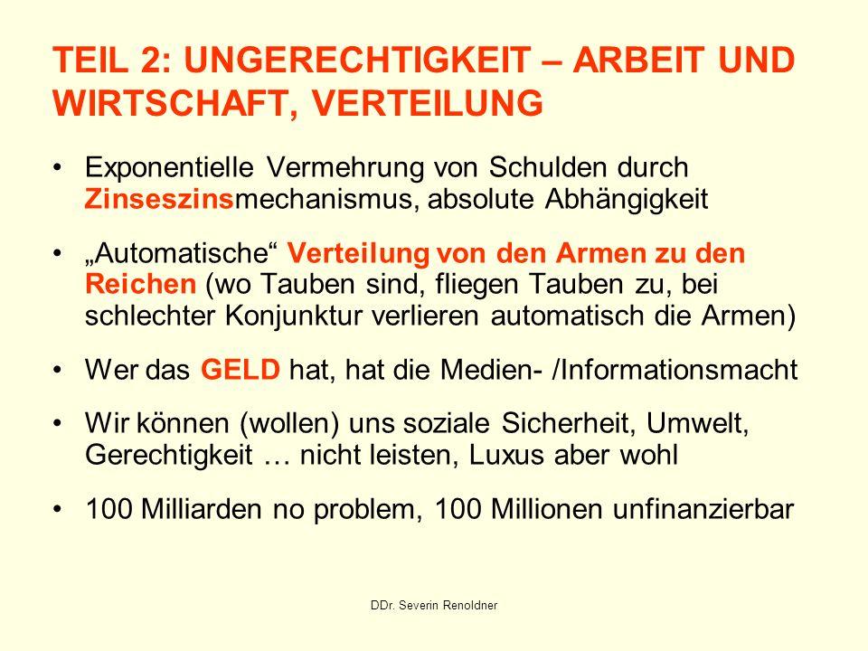 DDr. Severin Renoldner TEIL 2: UNGERECHTIGKEIT – ARBEIT UND WIRTSCHAFT, VERTEILUNG Exponentielle Vermehrung von Schulden durch Zinseszinsmechanismus,