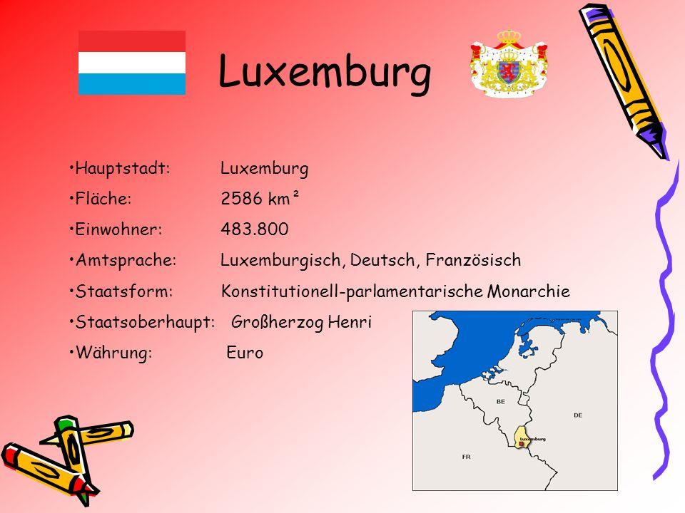 Luxemburg Hauptstadt: Luxemburg Fläche: 2586 km² Einwohner: 483.800 Amtsprache: Luxemburgisch, Deutsch, Französisch Staatsform: Konstitutionell-parlam
