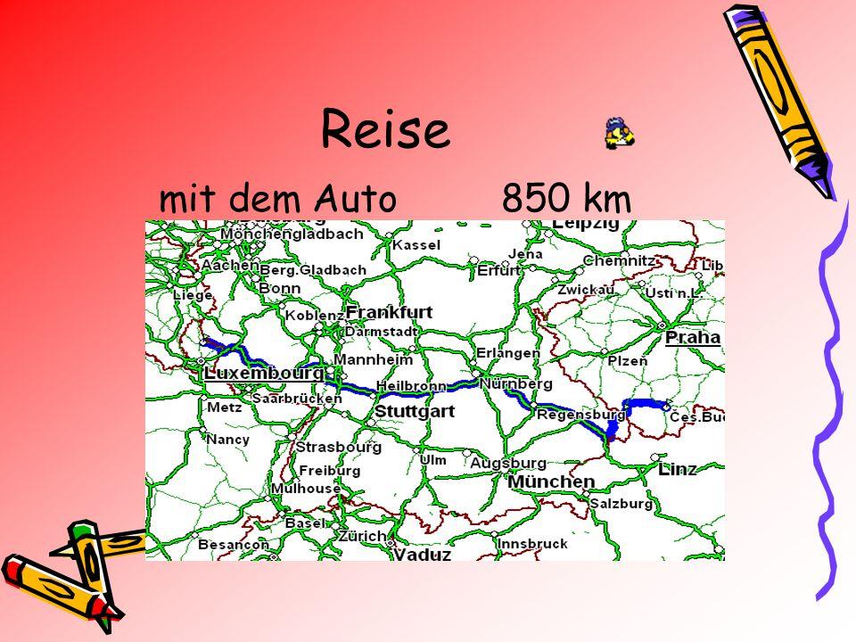 Reise mit dem Auto850 km