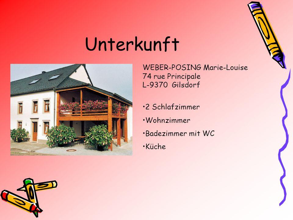 Unterkunft WEBER-POSING Marie-Louise 74 rue Principale L-9370 Gilsdorf 2 Schlafzimmer Wohnzimmer Badezimmer mit WC Küche