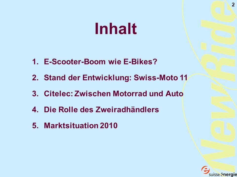 2 Inhalt 1.E-Scooter-Boom wie E-Bikes? 2.Stand der Entwicklung: Swiss-Moto 11 3.Citelec: Zwischen Motorrad und Auto 4.Die Rolle des Zweiradhändlers 5.