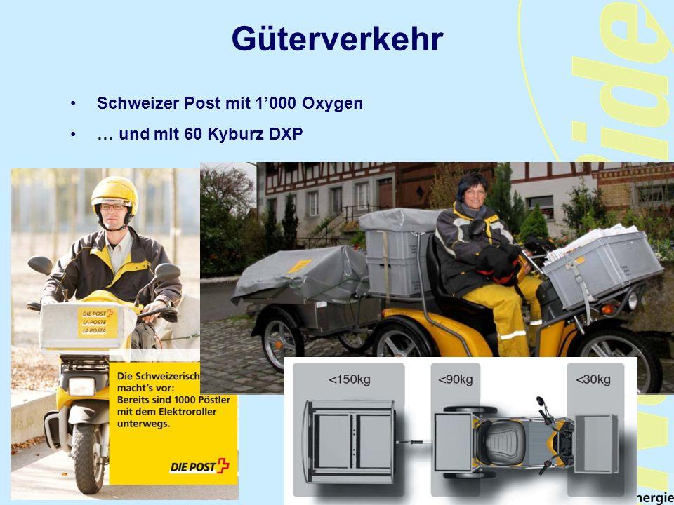 Güterverkehr Schweizer Post mit 1000 Oxygen … und mit 60 Kyburz DXP