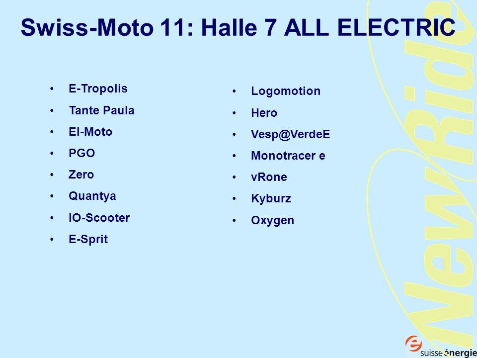 Swiss-Moto 11: Halle 7 ALL ELECTRIC E-Tropolis Tante Paula El-Moto PGO Zero Quantya IO-Scooter E-Sprit Logomotion Hero Vesp@VerdeE Monotracer e vRone