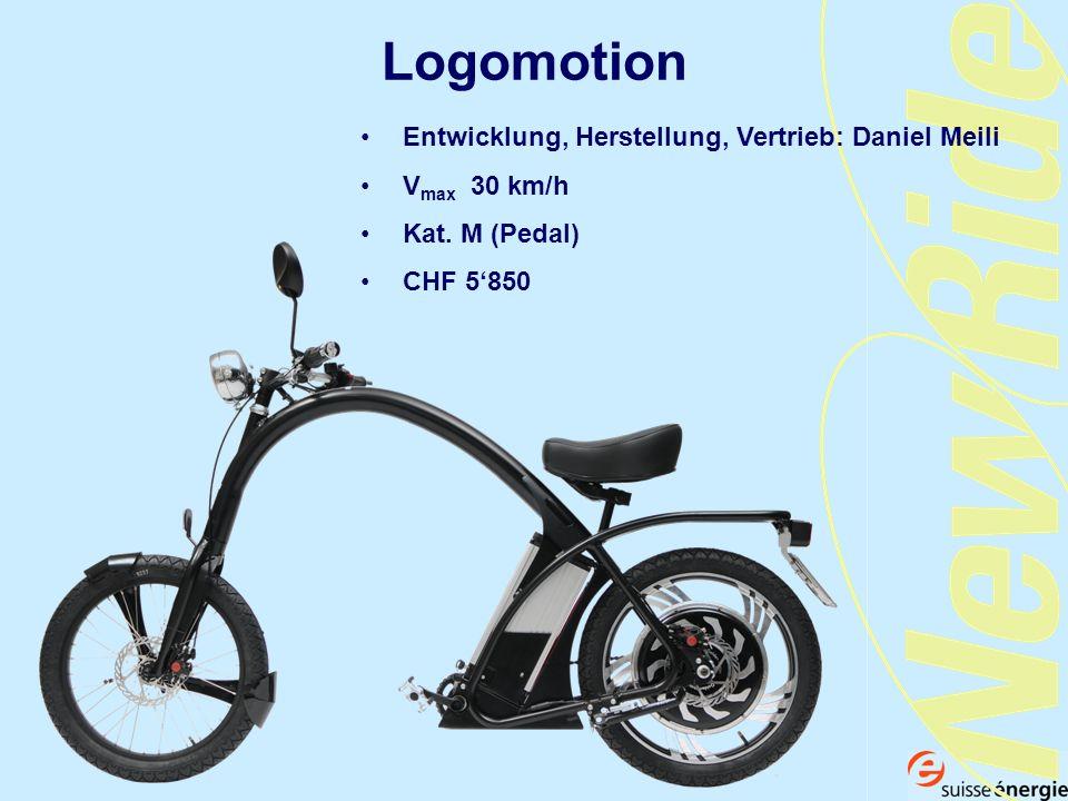 Logomotion Entwicklung, Herstellung, Vertrieb: Daniel Meili V max 30 km/h Kat. M (Pedal) CHF 5850