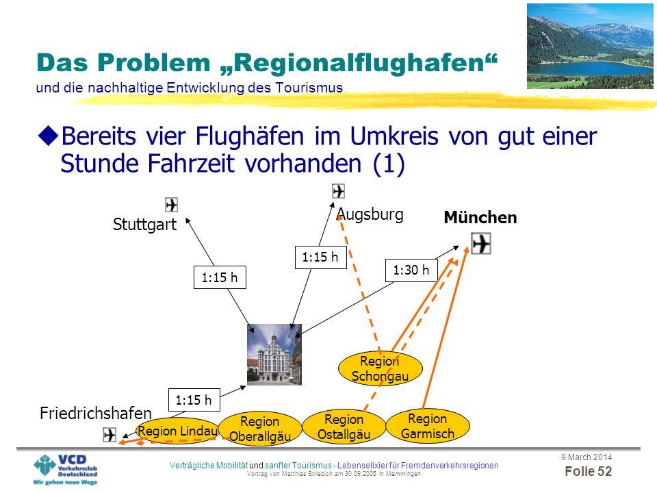 9 March 2014 Folie 51 Verträgliche Mobilität und sanfter Tourismus - Lebenselixier für Fremdenverkehrsregionen Vortrag von Matthias Striebich am 30.09