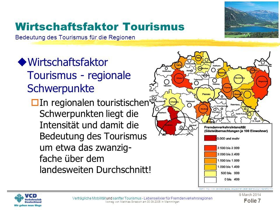 9 March 2014 Folie 6 Verträgliche Mobilität und sanfter Tourismus - Lebenselixier für Fremdenverkehrsregionen Vortrag von Matthias Striebich am 30.09.