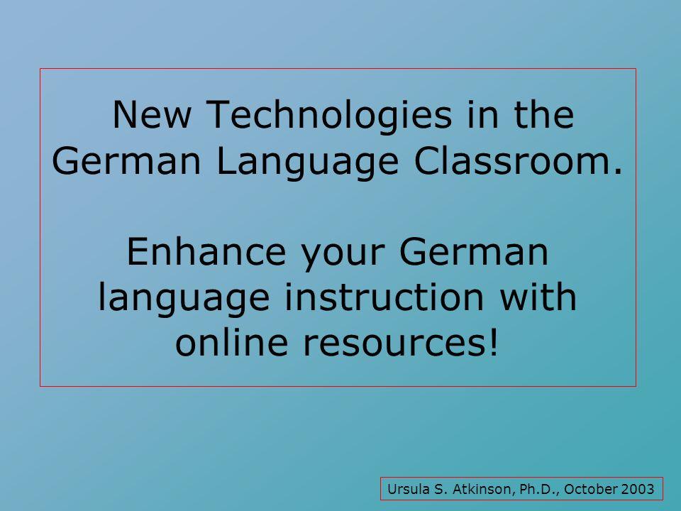 Alle Sprachen: FLTEACH teacher pages (http://www.geocities.com/Paris/LeftBank/9806/http://www.geocities.com/Paris/LeftBank/9806/ flteacherspgs.html)flteacherspgs.html Deutsch: Andreas Lixl: German Internet Project (http://www.uncg.edu/~lixlpurc/GIP/index.html)http://www.uncg.edu/~lixlpurc/GIP/index.html AATG: GROW (German Resources on the Web) (http://www.grow.aatg.org/index.html)http://www.grow.aatg.org/index.html 2 Nützliche Internet Adressen: