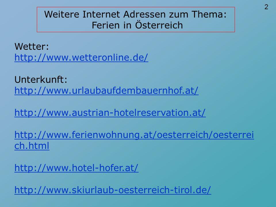 Zugauskunft - Berg/Seilbahnen: http://www.mcca.or.at/info/bahn/hafas.htm http://www.bahnkarten.at/bfc_zugauskunft.htm http://www.seilbahnen.at/welcome