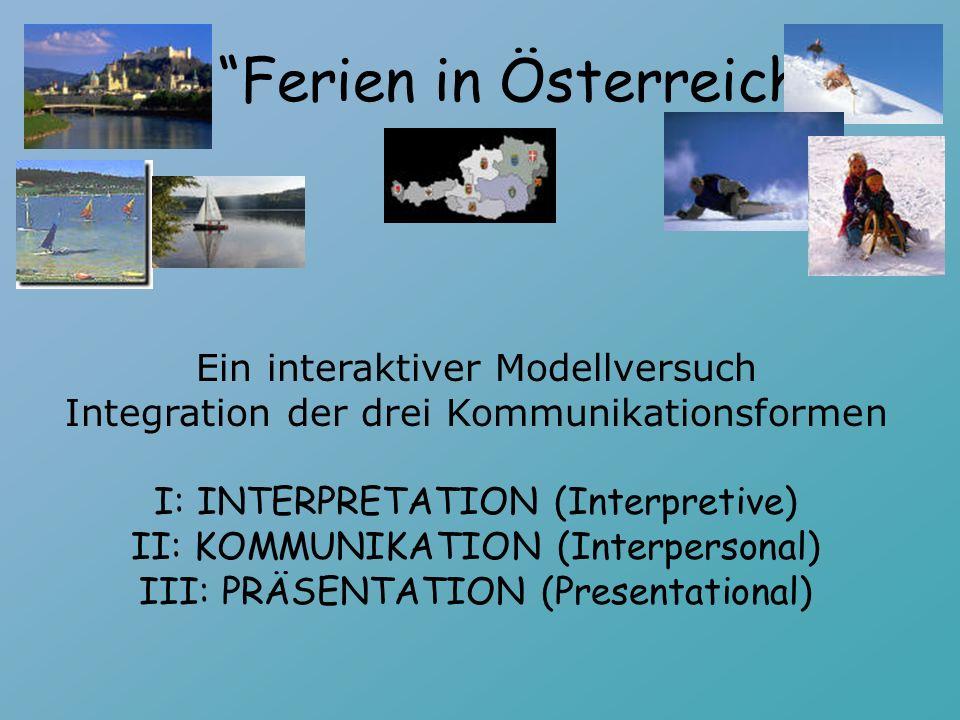 Ein interaktiver Modellversuch Integration der drei Kommunikationsformen I: INTERPRETATION (Interpretive) II: KOMMUNIKATION (Interpersonal) III: PRÄSENTATION (Presentational) Ferien in Österreich