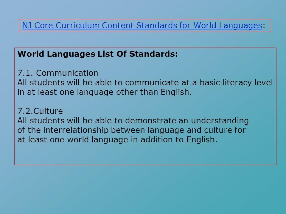 World Languages List Of Standards: 7.1.