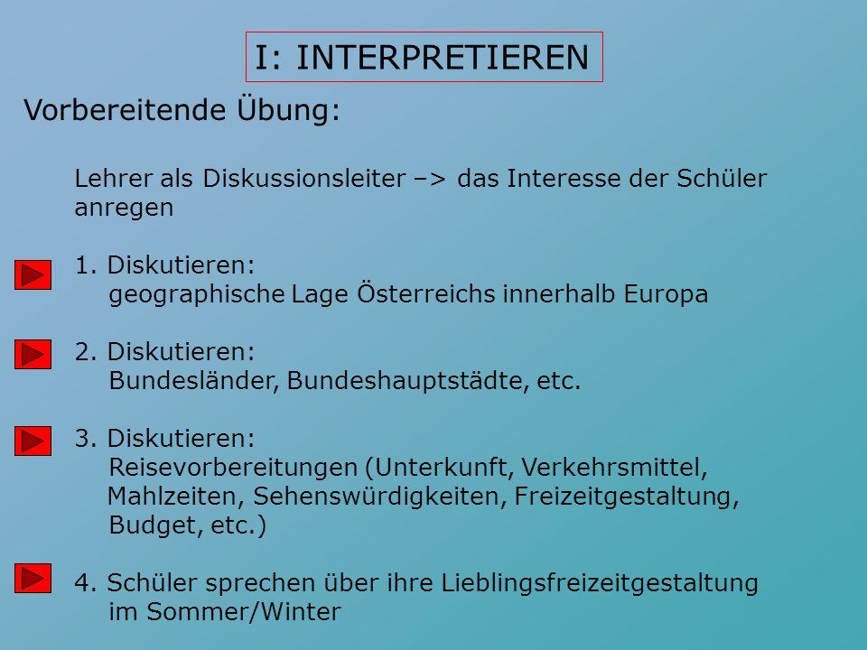 Vorbereitende Übung: Lehrer als Diskussionsleiter –> das Interesse der Schüler anregen 1.Diskutieren: geographische Lage Österreichs innerhalb Europa 2.