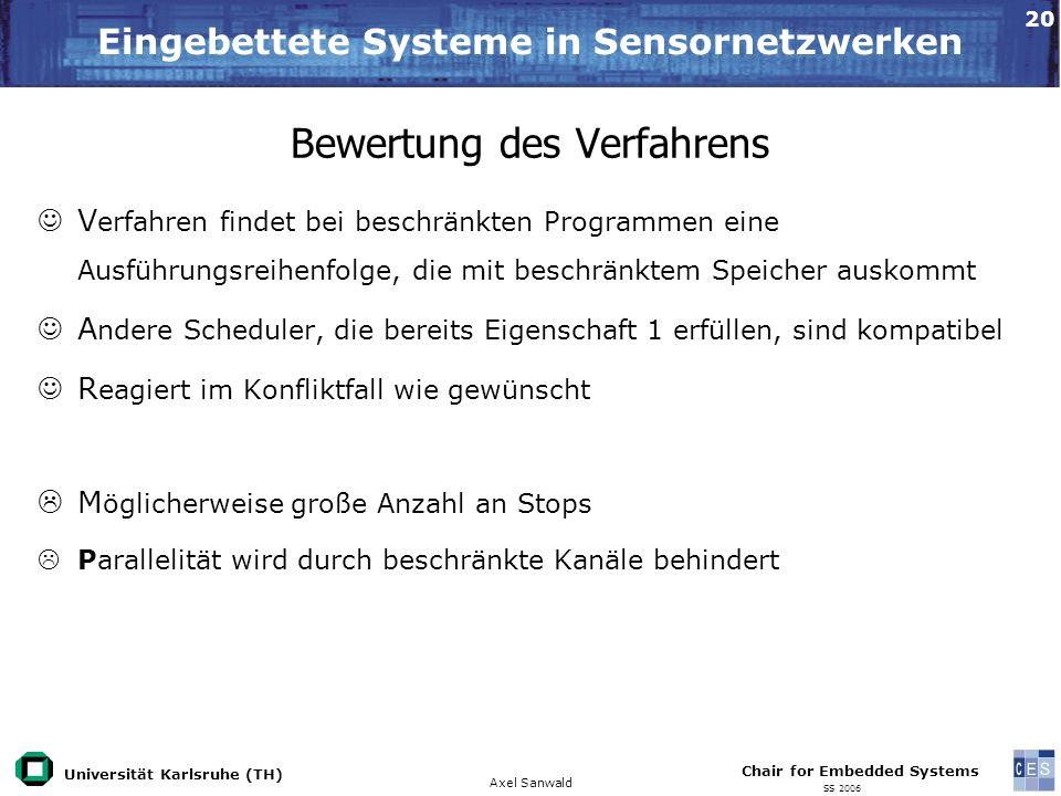 Universität Karlsruhe (TH) Eingebettete Systeme in Sensornetzwerken Axel Sanwald Chair for Embedded Systems SS 2006 20 Bewertung des Verfahrens V erfa