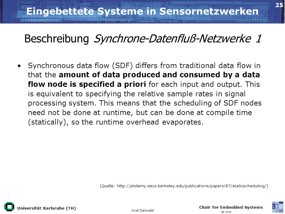 Universität Karlsruhe (TH) Eingebettete Systeme in Sensornetzwerken Axel Sanwald Chair for Embedded Systems SS 2006 25 Beschreibung Synchrone-Datenfluß-Netzwerke 1 Synchronous data flow (SDF) differs from traditional data flow in that the amount of data produced and consumed by a data flow node is specified a priori for each input and output.