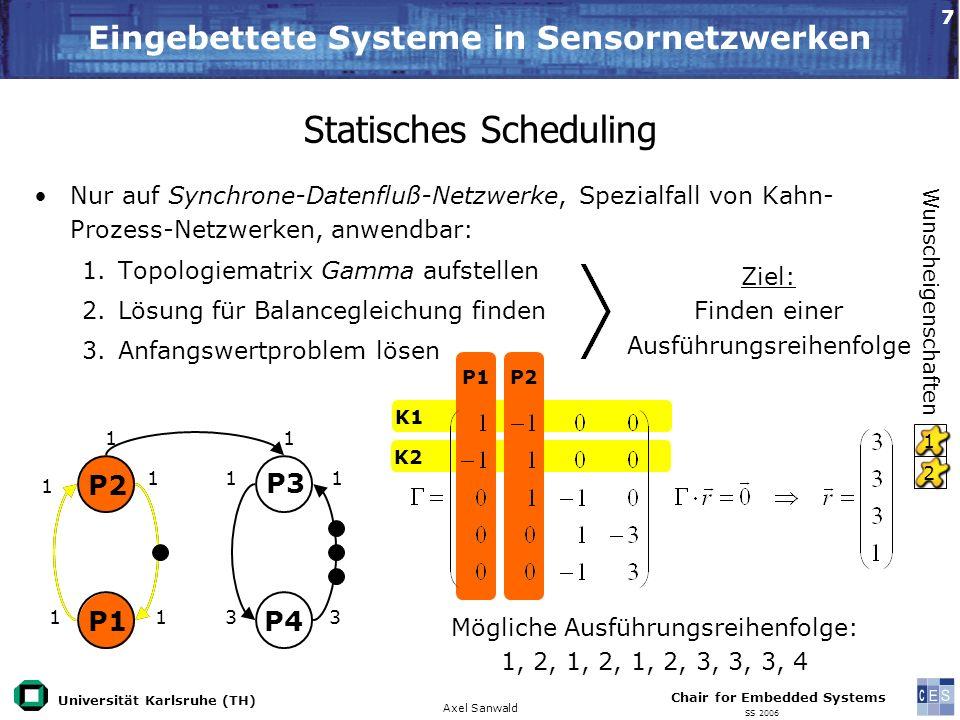 Universität Karlsruhe (TH) Eingebettete Systeme in Sensornetzwerken Axel Sanwald Chair for Embedded Systems SS 2006 8 Dynamisches Scheduling I Ziel: Unzulänglichkeiten von statischem Scheduling umgehen Ein einfaches Daten gesteuertes Scheduling Verfahren: 1.Suche alle Prozesse im Zustand bereit 2.Starte alle gefundenen Prozesse 3.Warte bis alle gestarteten Prozesse blockiert sind 4.Springe zu 1.