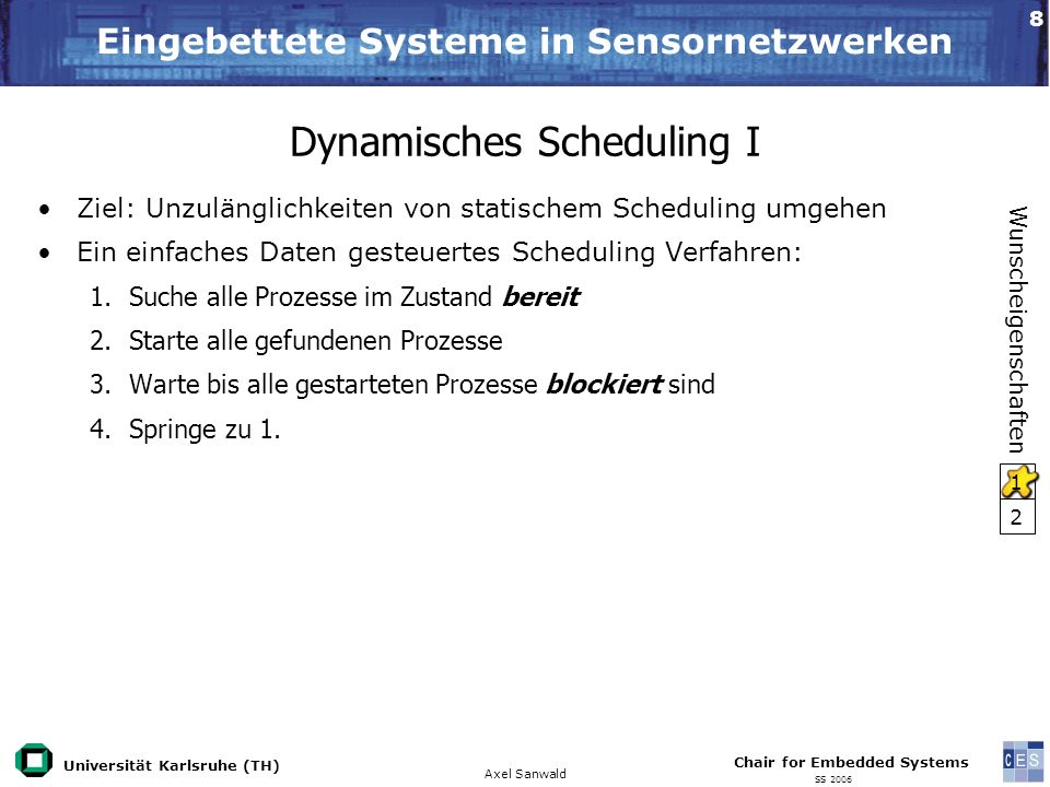 Universität Karlsruhe (TH) Eingebettete Systeme in Sensornetzwerken Axel Sanwald Chair for Embedded Systems SS 2006 9 Dynamisches Scheduling II Zweites Ziel erfordert Semantik-Änderung des Netzwerks: Neu: beschränkte Kanäle und blockierendes Schreiben Allerdings können künstliche Verklemmungen entstehen.