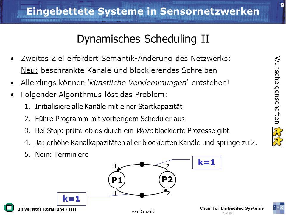Universität Karlsruhe (TH) Eingebettete Systeme in Sensornetzwerken Axel Sanwald Chair for Embedded Systems SS 2006 9 Dynamisches Scheduling II Zweite