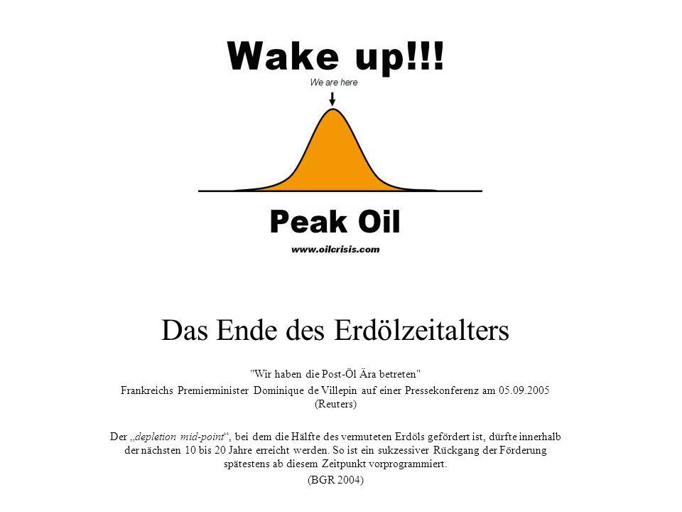 Das Ende des Erdölzeitalters Wir haben die Post-Öl Ära betreten Frankreichs Premierminister Dominique de Villepin auf einer Pressekonferenz am 05.09.2005 (Reuters) Der depletion mid-point, bei dem die Hälfte des vermuteten Erdöls gefördert ist, dürfte innerhalb der nächsten 10 bis 20 Jahre erreicht werden.